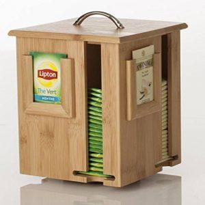2 en 1: Distributeur et Présentoir de sachets à thé sur support rotatif - En bambou de la marque Secret de gourmet image 0 produit