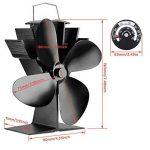 4pales chaleur Alimenté Bûche Brûleur et réchaud ventilateur pour bois bûches/brûleur à charbon/bois Stoves Noir de la marque JKsmart image 2 produit