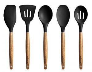 5 Piece Silicone Cooking Utensil Set with Natural Acacia Hard Wood Handle - Black de la marque UK Plaque image 0 produit