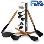 5 Piece Silicone Cooking Utensil Set with Natural Acacia Hard Wood Handle - Black de la marque UK Plaque image 1 produit