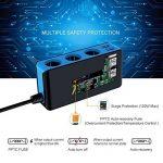 Adaptateur Allume-cigare, 120W 3-Socket Allume-cigare Répartiteur d'alimentation de 12V/24V Chargeur de Voiture avec 6.8 A 4-ports USB Chargeur de Voiture pour iPhone, iPad, Samsung Galaxy, GPS de la marque CHGeek image 4 produit