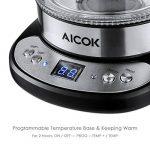 Aicok Théière en Verre Thermostat Réglable Avec Infuseur à Thé, Bouilloire en Verre Avec Double Verre Sans BPA, Sans Fil Avec Poignée Cool Touch et Filtre Inox, Éclairage LED, 1,7L, 2200W, Noir de la marque Aicok image 2 produit