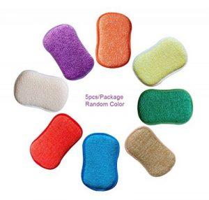 antibactérien en microfibre de cuisine de tampons à récurer double face éponges grattante non Odor Brosse à plat antiadhésif, idéal pour poêles Pots, Lot de 5couleurs aléatoires de la marque BYHappy image 0 produit