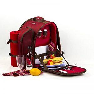 Apollowalker 2 personnes Rouge Sac à dos pique-nique avec sac isotherme avec vaisselle et couverture polaire Red de la marque Apollowalker image 0 produit