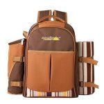 Apollowalker 4 Panier de sac à dos de pique-nique Sac isotherme avec Service de table et couverture de la marque APOLLOWALKER image 1 produit