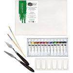 Artina Ensemble pour peinture Acrylique Milano 19 pieces avec chevalet de table, Toile 20x30 cm, peinture, pinceaux, palette et couteau à peinture de la marque Artina image 2 produit