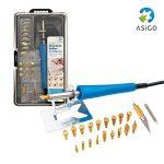 Asigo Kit Pyrograveur V2 24 pièces professionnel | Pyrograveur à Bois, Liège, Cuir et Cire | Fer à souder - 30 W/230 V | Kit de bricolage de la marque Asigo image 1 produit