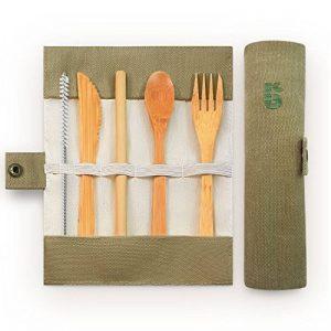 Bambaw Set couverts en bambou   Couverts en bois   Kit couverts écologique   Couteau, fourchette, cuillère et paille  Couverts de voyage   Couverts camping avec housse de rangement   20 cm de la marque Bambaw image 0 produit