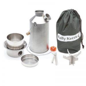 'Base Camp' Kelly Kettle® - KIT complet (1.6ltr bouilloire en Aluminium + Acier Cook Set + Acier pot soutien) Camping bouilloire et cuisinière de Camp dans l'un. Ultra rapide léger bois poêle alimenté. PAS de piles, sans gaz, sans carburant! Pour la pêche image 0 produit