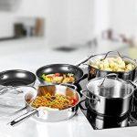 Batterie de cuisine induction, 10 pièces, résistantes à la rouille et au four, poignées rivetées/Non PFOA/des gants de cuisine gratuits de la marque DEIK image 1 produit
