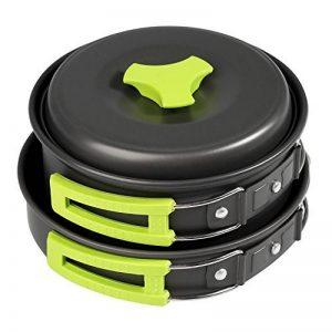 BELLESTYLE Batterie de Cuisine de Camping, 10 Pcs Mini Backpacking Randonnée Outdoor Picnic Cooking Gear - Bowls Utensil Pot Pan Set, 1-2 Personnes Équipement de cuisine – Vert de la marque BELLESTYLE image 0 produit