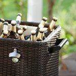 Blumfeldt Springbreak - Bar mobile, glacière frigorifique pour terrasse et jardin, contenance de 80L (décapsuleur et receptacle à capsules, roulettes, vidange facile) - rotin foncé de la marque Blumfeldt image 4 produit