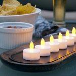 Bougies Chauffe-Plat à LED Sans Flamme -24 Bougies Jaune Clignotant avec Bonus 12 Sacs Lumineux Inclus de la marque Frux Home and Yard image 2 produit