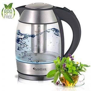 Bouilloire électrique en verre avec passoire à thé en acier inoxydable 1,8 l 2200 W LED sans BPA de la marque TurboTronic image 0 produit