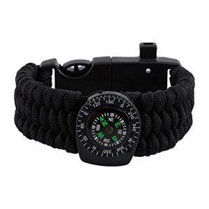Bracelet de Survie Multifonction 6 en 1 Kit de Survie - Allume-feu + Grattoir + Boussole + Sifflet + Paracorde + Thermomètre pour Randonnée Camping Vayages Extérieurs de la marque VGEBY image 0 produit