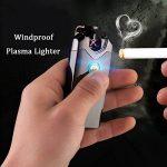 Briquet Rechargeable Electrique, LAZU Classique USB Briquet Double Arc Electrique Sans Flamme Anti Vent Coupe-vent avec Indicateur LED (Noir) de la marque LAZU image 1 produit