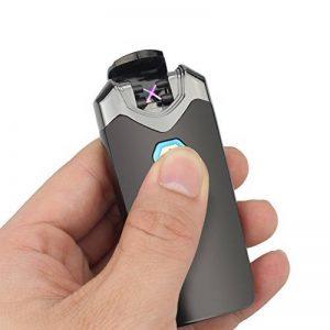 Briquet Rechargeable Electrique, LAZU Classique USB Briquet Double Arc Electrique Sans Flamme Anti Vent Coupe-vent avec Indicateur LED (Noir) de la marque LAZU image 0 produit