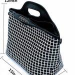 Case Wonder Sacs à lunch, sac à lunch en néoprène, sac à lunch isolé et réfrigéré isolé, récipient réutilisable lavable avec épaule pour hommes / femmes / pique-nique / travail / école (L, Black Grid) de la marque Case Wonder image 2 produit