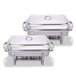 Chaneau Chafing Dish Combustible Acier Inoxydable Plat-réchaud 8 Quart Chafing Dish Base Pliable Lot 2 Réchaud-Dish (Chafing Dish) de la marque Chaneau image 0 produit