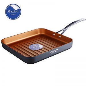 Cooksmark poêle à frire aluminium antiadhésif poêle grill 26cm carré avec revêtement en couleur cuivre sans PFOA avec poignée en acier inoxydable compatible au four et lave-vaisselle de la marque COOKSMARK image 0 produit