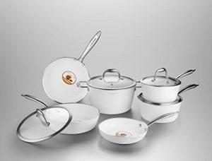 COOKSMARK set de poêle et casserole en aluminium avec revêtement céramique antiadhésif swan batterie de cuisine à induction 10 pièces blanc compatible au four de la marque COOKSMARK image 0 produit