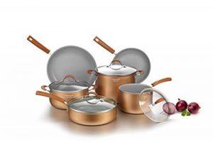 COOKSMARK set de poêles et casseroles aluminium avec revêtement céramique antiadhésif batterie de cuisine induction 10 pièces y compris poêle à frire sauteuse casserole faitout en couleur cuivre et gris adapté au four et lave-vaisselle de la marque COOKSM image 0 produit