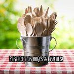 Couverts jetables en bois paquet de 200 - 50 fourchettes, 50 couteaux, 50 cuillères et 50 cuillères à dessert / thé, L'alternative écologique et chic au plastique de la marque Matana image 1 produit