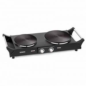 Duronic HP2BK Plaque de cuisson chauffante électrique avec double foyer en fonte/Réchaud de 2500W avec thermostat ajustable - Poignées intégrées de la marque Duronic image 0 produit