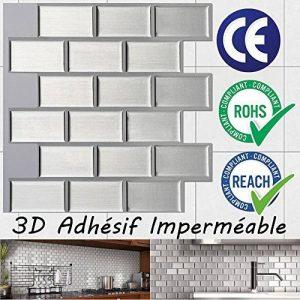 Ecoart 3D Autocollant Mural Imperméable Auto-adhésif en forme de brique pour la salle de bain et la cuisine Argenté 25.4 x 25.4cm Lot de 6 de la marque Ecoart image 0 produit