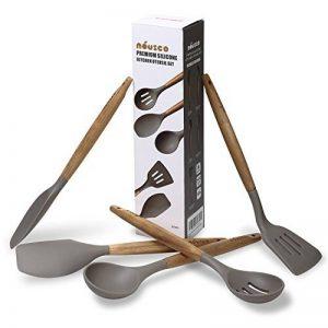 Ensemble de 5 ustensiles de cuisine en silicone avec manche en acacia naturel - Gris de la marque UK Plaque image 0 produit