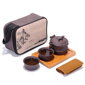 Ensemble de thé Kungfu Zisha de voyage portable, théière à l'argile pourpre et 2 tasses à la main, chinois traditionnel (style bambou) de la marque T Tocas image 0 produit