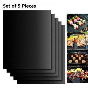 Extsud Set de 5 Tapis de Cuisson Tapis BBQ Barbecue Plaque Feuille de Cuisson Four 40*33cm pour barbecue gaz charbon électrique 100% Anti-adhérent de la marque Extsud image 0 produit