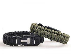 Generic Lot de 2 bracelets de survie paracorde avec sifflet grattoir et allumettes pour extérieur Noir et vert Armée de la marque Generic image 0 produit