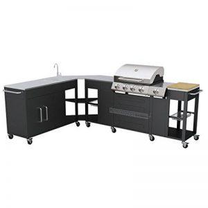 Grand barbecue à gaz GPL butane propane cuisine extérieure 4 brûleurs + 1 réchaud latéral 1 évier grand plan de travail inox espace de rangement 8 roues de la marque vidaXL image 0 produit