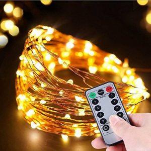 Guirlande Lumineuses à Pile 2Pack Éclairage Chaîne 50 LED String Lights batterie exploité Waterproof en fil de cuivre avec télécommande pour DIY Wedding Party Dinner Indoor Décoration extéri de la marque Kenor image 0 produit