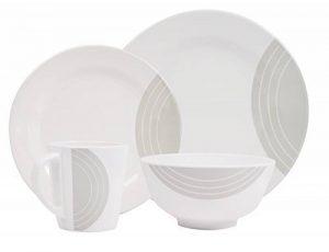 Hekers Neu Mélamine Ivoire 24pièces pour 6personnes Blanc/gris Circle rond de la marque Hekers image 0 produit