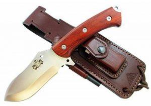 HISPANUS - Couteau de Outdoor / Survie - Manche en bois de cocobolo, Lame inox MOVA-58 avec étui de transport. Pierre d'affûtage et allume feu (firesteel) incluse - Fabriqué en Espagne. de la marque CDS-Survival image 0 produit