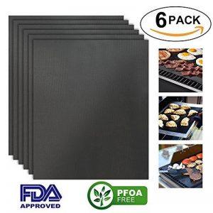 HTINAC 6 PCS Tapis de Cuisson Feuilles de Cuisson Réutilisable et Facile à Nettoyer 50 x 40 cm - pour Barbecue Four Cadeau Idéal pour Amateur de Barbecue à Gaz, Électriques et Charbon de la marque HTINAC image 0 produit