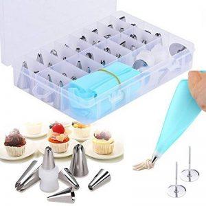 Kit de 38 ustensiles dedécorations pour gâteaux, douilles de glaçage pour gâteaux Neuleben avec 32pointes, 2poches à pâtisserie en silicone, 2moules en forme de fleur, 2moules en plastique réutilisables, lot d'accessoires d'ustensiles de glaçage pour image 0 produit