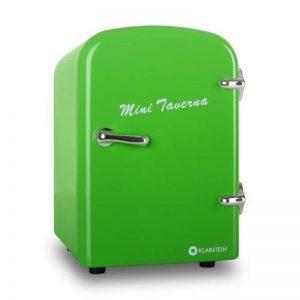 Klarstein Mini Taverna Mini frigo (glacière électrique design, chaud/froid pour canettes et petites bouteilles, 4L, secteur ou allume-cigare 12V, étagère et porte-tablette amovible) - vert de la marque Klarstein image 0 produit
