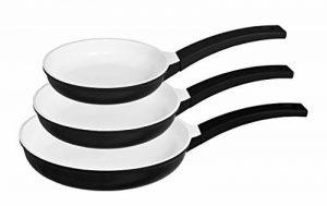 Kopf Ernestos - Set de poêles à frire, 3 pièces, Ø 20 + 24 + 28 cm, fonte d'aluminium avec revêtement céramique, convient à induction, blanc de la marque Kopf image 0 produit