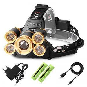 Lampe Frontale Puissante avec 5 LED de 8000 lumens, Lampe Torche LED Zoomable et Étanche avec 2 x 18650 Batterie Rechargeable de Protection contre Surcharge,Idéal pour la Cave,la Spéléologie de la marque Neolight image 0 produit