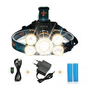 Lampe Frontale Puissante avec 5 LED de 8000 lumens, SGODDE Lampe Torche LED Zoomable et Étanche avec 2 x 18650 8800mAh Batterie Rechargeable de Protection contre Surcharge. de la marque SGODDE image 0 produit