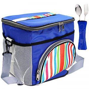 LIVEHITOP 15L Grand Glacière Sac Repas déjeuner, 15 Litres Isotherme Cooler Lunch Bag avec Ceinture d'épaule Ustensile pour Pique-nique Plage Bureau Travail, 29x22x24cm/11.4''x8.7''x9.4'' (Bleu) de la marque LIVEHITOP image 0 produit