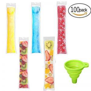 Lot de 100Glace Popsicle Moules, des Sacs jetables DIY partie supérieure congélateur Tube Ice Pop Pochettes pour Gogurt, Ice Candy ou Freeze Pops, sans BPA/sont livrés avec entonnoir de la marque Watooma image 0 produit