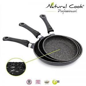 Lot de 3 Poêles 20 / 24 / 28 cm en pierre granité et céramique - tous feux dont induction - Natural Cook Professionnel de la marque Natural Cook Professionnel image 0 produit