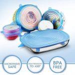 Lot de 6couvercles en silicone stretch couvertures pour la nourriture, bol, Assiette, tasses, casseroles et poêles (sans BPA, passe au micro-ondes, réutilisable) de la marque Kobwa image 2 produit
