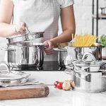 Lot de casseroles pour induction Sagan de K & G seit 1948 lot d'ustensiles de cuisine en acier inoxydable chromé, fond thermo et couvercles en verre adaptés avec purge à vapeur et verseur de la marque K & G seit 1948 image 4 produit