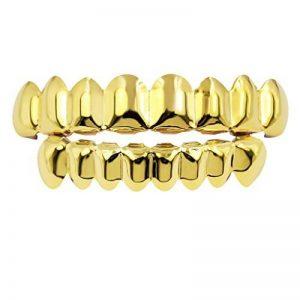 MagiDeal 2X Dent Teeth Grills 18k Plaqué Or Amovible Hip Hop Haut Et Bas Bijoux de Dent de la marque MagiDeal image 0 produit