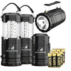 MalloMe 2-IN-1 LED Camping lanterne et lampe de poche avec 12 piles AA - Gear Kit de survie pour l'urgence, ouragan, tempête, panne (noir, pliable), lot de 4 de la marque MalloMe image 0 produit